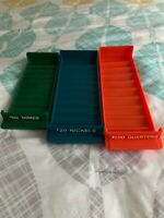 (3) MMF Stackable Plastic Rolled Coin Trays $ Rolls Nickels Dimes Quarters Set