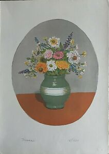 Nino Tirinnanzi litografia Anemoni  65x46 firmata numerata 1969