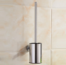 Toilet Brush Set Accessories Round Chrome Holder Wall Mounted For Bathroom