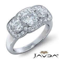 2.75ctw Milgrain Halo 3 Stone Cushion Diamond Engagement Ring GIA G-VS1 W Gold
