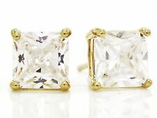 Princess white gem simple stud earrings 18ct yellow gold plated classic gift box