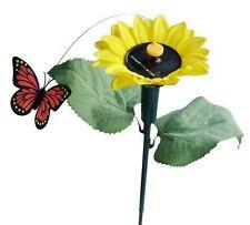 Sunflower with Solar Fluttering Butterfly,Solar or Battery Powered Garden Stake