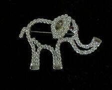 Vintage Cut Out Rhinestone Elephant Pin Brooch