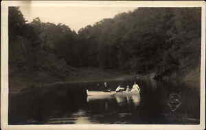 Boating - Liberty NY Hillig Studio Cameo c1910 Real Photo Postcard
