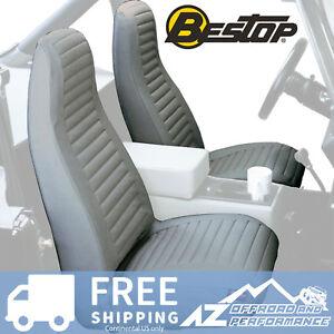Bestop Seat Covers Pair High Back Bucket 76-91 Jeep CJ5 CJ7 Wrangler YJ Charcoal
