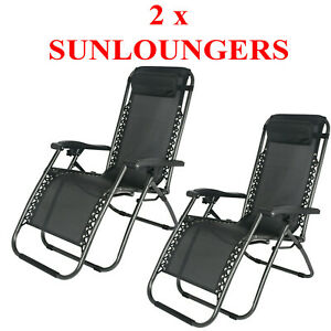 2 x RECLINING SUN LOUNGER OUTDOOR GARDEN FOLDING ZERO GRAVITY CHAIR ADJUSTABLE