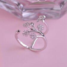 Women Rhinestone Crystal Butterfly Trees Engagemen Ring Opening Adjustable Ring