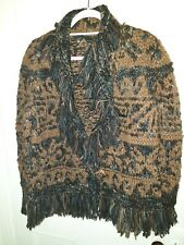 """Ladies Hippy 100% Wool Chunky Fringed Cardigan """"PERUVIAN CONNECTION"""" SzXL BNWOT"""