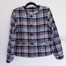 Angelle Womens Tweed Jacket Blue/Black/Red/Grey Checks Size Large 12 Collarless