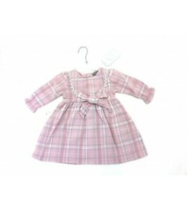Baby girls clothes spanish style bow checked dress pink 0-3 3-6 6-12 months
