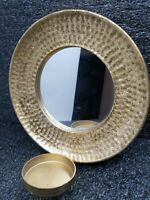"""Gold Metal Frame Wall Hanging Mirror Candle Holder 'Hobby Lobby'  7""""  Hammered"""