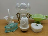 HUGE LOT VINTAGE FENTON GLASS IRIDESCENT 95TH ANNIVERSARY COVERED JAR FAIRY LAMP