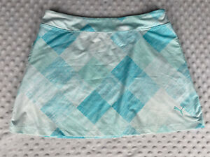 Puma Tennis Golf Athletic Pull on Skirt Women's Size M Medium White & Light Blue