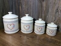 Vintage House Of LLoyd Ceramic Kitchen Canister Hearts Set Of 4 G5