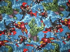 Avengers Hulk Iron Man Thor Comic Book Character Blue Cotton Fabric FQ