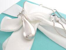 Tiffany & Co Silver Large Teardrop Tear Drop Peretti Necklace 18.5 Inch Box