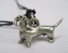 Pewter Dog Dachshund Charm Pendant Silver Tone Adjustable Black String Necklace
