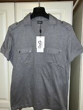 Brand New Mens D&G Designer Polo T-Shirt in Dark Grey, size Fitted Large