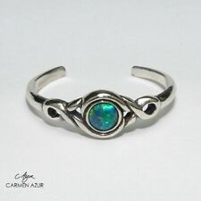 Solid 925 Sterling Silver Toe Ring Green / Blue Stone Ladies New inc Gift Bag