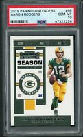 Aaron Rodgers Green Bay Packers 2019 Panini Contenders Football Card #66 PSA 10