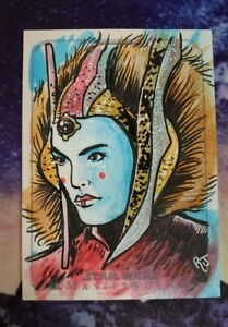 Star Wars Masterworks Artist Autograph Card Sketch Queen Amidala