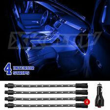 BLUE LED Car Interior Seat Dashboard Trunk Underglow Neon Accent Light 2zone