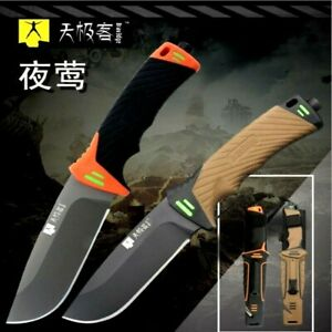 Drop Point Knife Fixed Blade Hunting Combat Tactical Survival High Carbon Steel