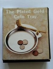 Vintage Plated Gold Pocket Coin Change Tray Dish - Sport Football Office Display