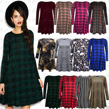 Checked Long Sleeve Skater Casual Dresses for Women