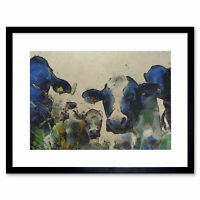 Painting Nature Cow Cattle Farm Animal Framed Print 12x16 Inch