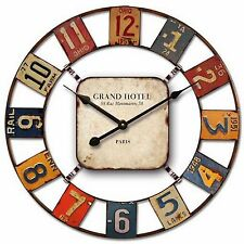 60cm Cafe Home Decorative Industrial Colour Squares Car Plates Metal Wall Clock