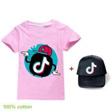 Girls Boys Tik Tok 100% Cotton Home Children Tops T-Shirts + Hat Gifts 2Pcs/set