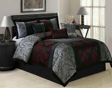 Queen Cal King Bed Black Silver Chinese Medallion Patchwork 7 pc Comforter Set