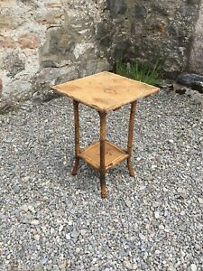 Vintage Bamboo Side Table / Plant Stand