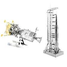 Set of 2 Fascinations Metal Earth Model Kits Apollo Saturn V Gantry & CSM w/ LM
