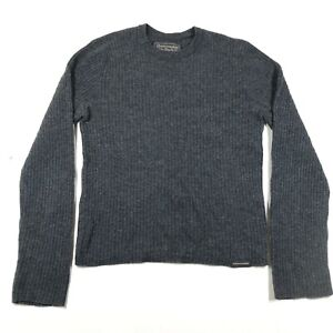Abercrombie & Fitch Sweater Jumper Mens S Dark Gray Crew Neck Lambswool Ribbed