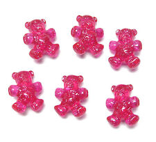 Teddy Bear shaped pony beads 25 Hot Pink with Glitter crafts jewelry kandi kids