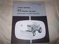 John Deere 40 Front Blade Manual for 60 70 Lawn Tractor Original