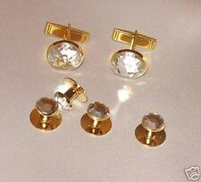 Cufflinks and Tuxedo Studs Gold Crystal Brand New
