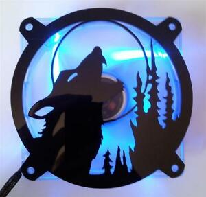 Custom 140mm HOWLING WOLF Computer Fan Grill Gloss Black Acrylic Cooling Cover