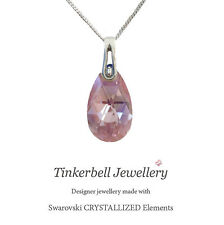 18 Inch Sterling Silver Necklace w Swarovski Light Rose AB Pink Teardrop Pendant