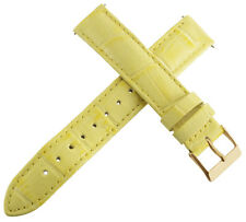 Guess 16mm Womens Yellow Genuine Leather Watch Band Strap Rose Gold Tone Buckle