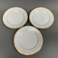 """Royal Heidelberg Winterling Salad Plates 7 5/8"""" White with Gold Trim Lot of 3"""