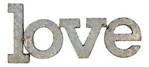 Love Wall Letters Word Silver Dimensional Metal Decor 16.5 Inches