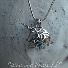 Unicorn Horse Silver Plated Cage Pendant Pearl Akoya Oyster USA Fast ship
