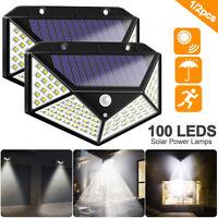 100 LED Solar PIR Motion Sensor Wall Light Outdoor Path Yard Security Lamp