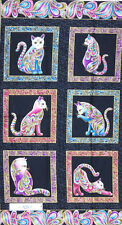 Patchwork Quilting Sewing Fabric Catitude Metallic Bright Panel 60x110cm New ...