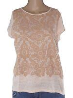 zara maglia donna rosa chiaro manica corta lino taglia s / m small / medium
