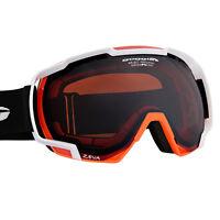 Skibrille Snowboardbrille weiss neon orange  Helmkompatibel 100% UV Schutz