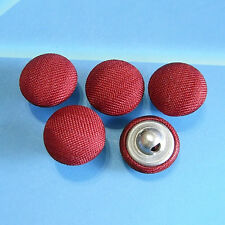 20 Satin Fabric Cover Shirt Clothes Shank Sewing Buttons Matte Red 12.5mm G139